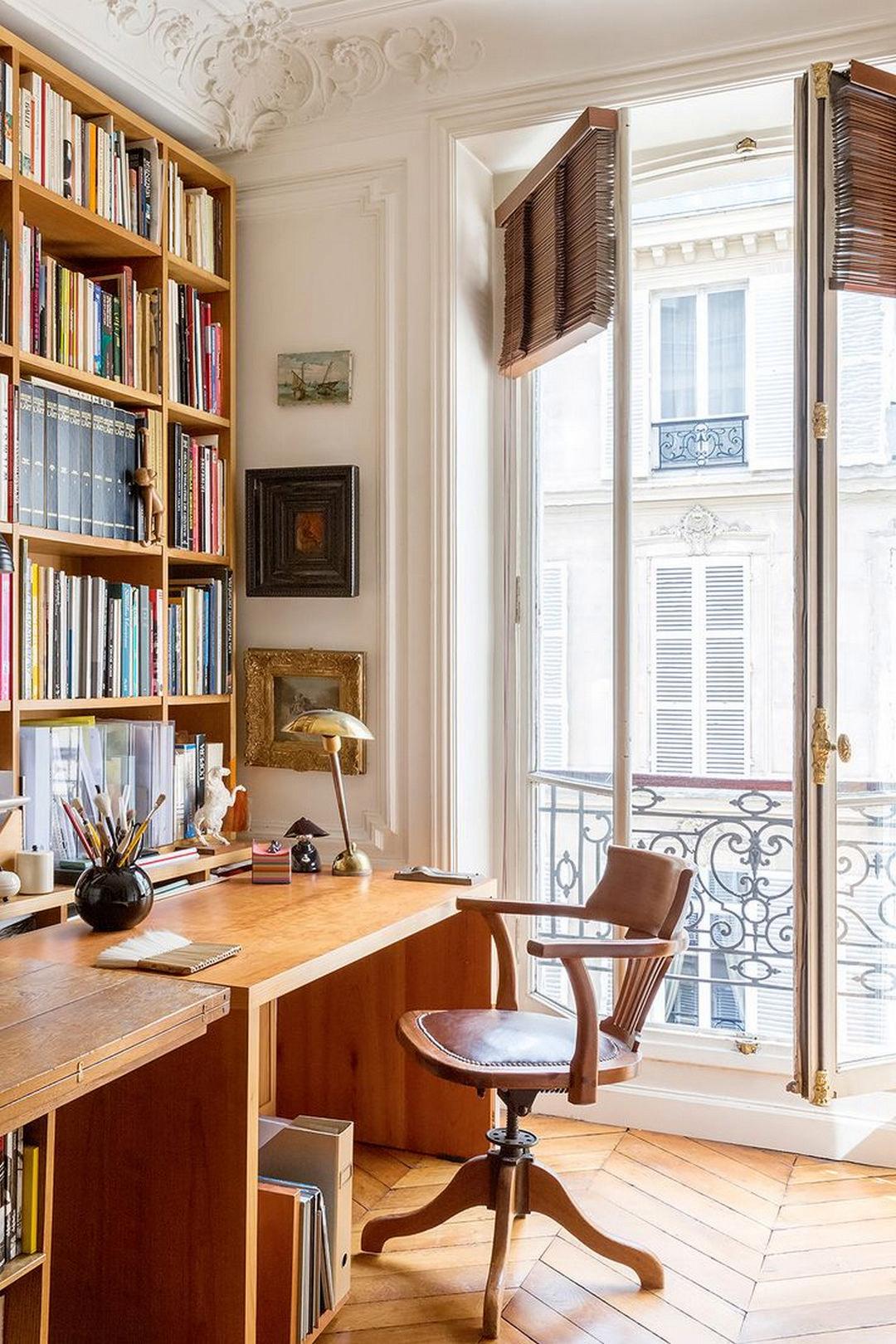 study, wooden chester floor, wooden table, wooden shelves, glass door