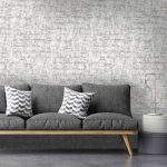 Thin Wooden Sofa Bench, Dark Grey Cushion, Grey Wall, Grey Floor