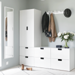 White Cabinet Vertical And Horizontal, White Wall, White Floor