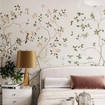 White Velvet Headboard, Flowery Wall, White Side Table, Golden Table Lamp