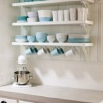 White Wooden Open Floating Shelves, White Shiplanks, Brown Counter Top, White Shelves