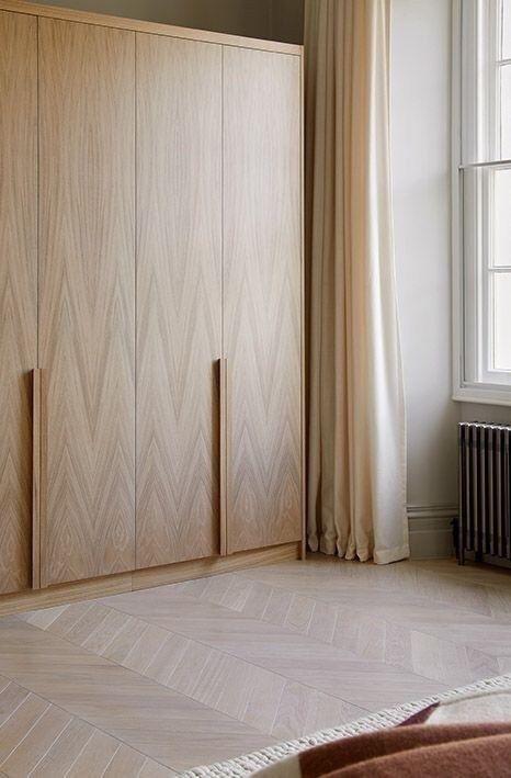 wooden cupboard, wooden floor, brown curtain