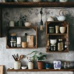 Wooden Floating Shelves, Wooden Floating Boxes, Grey Concrete Wall