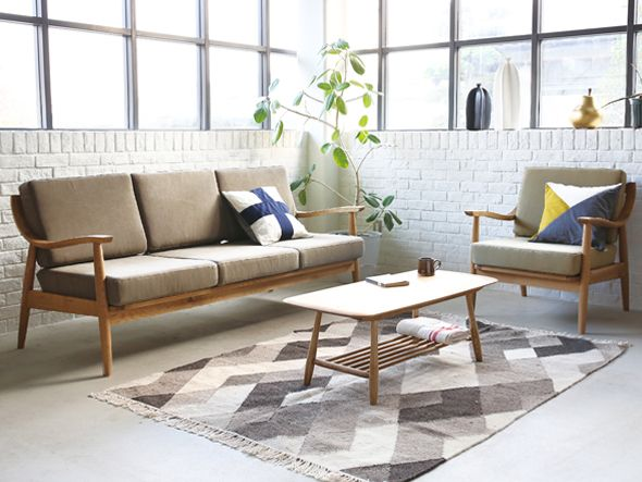 wooden sofa, wooden chair, grey cushion, grey floor, wooden coffee table