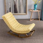 Yellow Tufted Lounge And Rocking Chair, Grey Rug, Cream Wall, Wooden Side Table