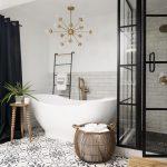 Bathroom, Black Floor Tiles, White Patterned Floor Tiles, White Wall, Grey Subway, White Tub, Modern Chandelier, Glass Partition