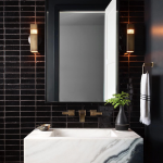 Bathroom, Black Wall Tiles, Mirror, Sconces, White Marble Floating Sink