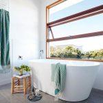 Bathroom, Grey Floor Tiles, White Wall, White Tub, Glass Window