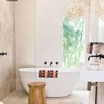 Bathroom, Marble Floor Tiles, Marble Wall Tiles, White Tub, Wooden Side Table, Pretty Pendant, White Floating Vanity