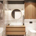Bathroom Vanity, Patterned Floor, White Zig Zag Tiles On Backsplash, Wooden Floating Vanity, White Sink, Round Mirror, Sconces
