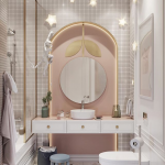 Bathroom Vanity, White Wall, White Tiny Wall Tiles, Pink Accent Wall In Curvy Indented Nook, LED Lights, Golden Accents, Round Mirror, White Floating Vanity, White Round Sink
