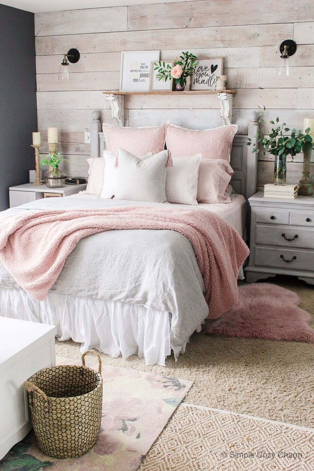 bedroom, brown rug, white wooden side table, white wooden bed platform, wooden accent wall, grey wall