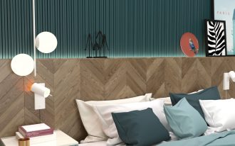 bedroom, green grid wall, wooden wall, pendants, blue side cabinet with white top