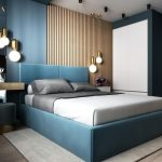 Bedroom, Grey Wooden Floor, Blue Wall, White Wall, Wooden Grid Wall, Blue Headboard, Pendants, Blue Side Table, White Side Cabinet