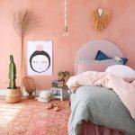Bedroom, Pink Patterned Rug, Peach Pink Wall, Pink Headboard, Pendant
