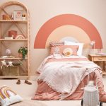 Bedroom, Pink Wall, Pink Orange Rainbow Lines, Rattan Shelves, Wooden Side Table, Bed