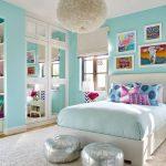 Bedroom, Turquoise Wall, White Ceiling, White Framed Door, White Bed Platform, Blue Bedding, White Pendant, White Rug