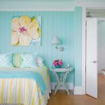 Bedroom, Turquoise Wall, White Ceiling, Wooden Floor, Blue Yellow Bedding, Blue Wooden Round Side Table