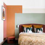 Bedroom, White Wall, Pink Orange Green Color Blocks, Orange Round Side Table, Purple Headboard
