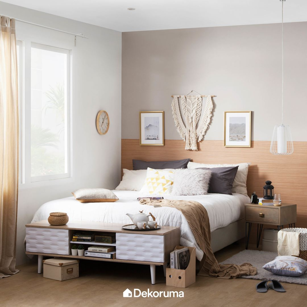 bedroom, white wall, wooden floor, brown accent wall, pendant, wooden side table, wooden cabinet