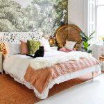 Bedroom, White Wooden Floor, White Wall, White Detailed Headboard, Rattan Chair, Rattan Rug