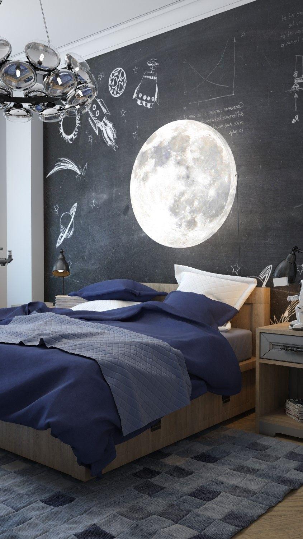 bedroom, wooden floor, black accent wall, wooden bed, wooden side table, metal pendant
