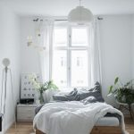 Bedroom, Wooden Floor, White Wall, White Curtain, Wooden Bed Platform, White Side Table, White Modern Chair