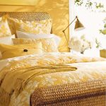 Bedroom, Yellow Wall, Rattan Platform, Yellow Bedding, Yellow Table Lamp