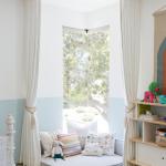 Corner Window, White Cushion, White Blue Wall, Pillows