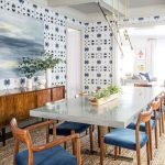 Dining Room, Rattan Rug, White Patterned Wall, Wooden Cabinet, White Marble Table, Wooden Chairs With Blue Cushion