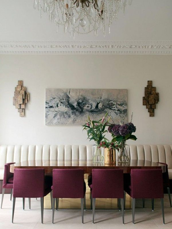 dining room, white floor, white sofa, wooden table, purple chairs, wall accessories