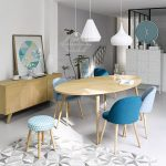 Dining Room, White Floor, White Wall, Wooden Cabinet, Wooden Table, White Pendants, Blue Chairs, White Cabinet