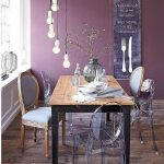 Dining Room, Wooden Floor, Purple Wall, Wooden Table, Wooden Chairs, Acrylic Chairs, Bulb Pendants