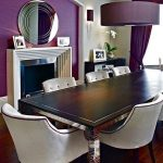 Dining Room, Wooden Floor, White Wall, Purple Wall, Purple Pendant, Fireplace, Wooden Table, White Chairs