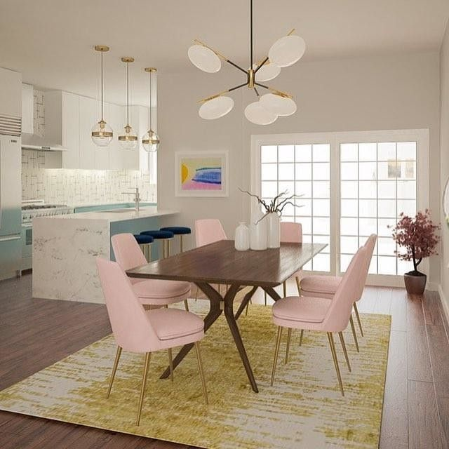 dining room, wooden floor, white wall, wooden dining table, pink modern chairs, white bulbs chandelier