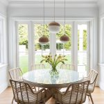 Dining Set, Wooden Floor, White Wall, White Rattan Chairs, White Round Table, White Brown Pendants