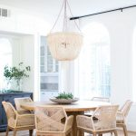 Dining Set, Wooden Floor, White Wall, Wooden Chairs, Round Wooden Table, White Fringed Chandelier