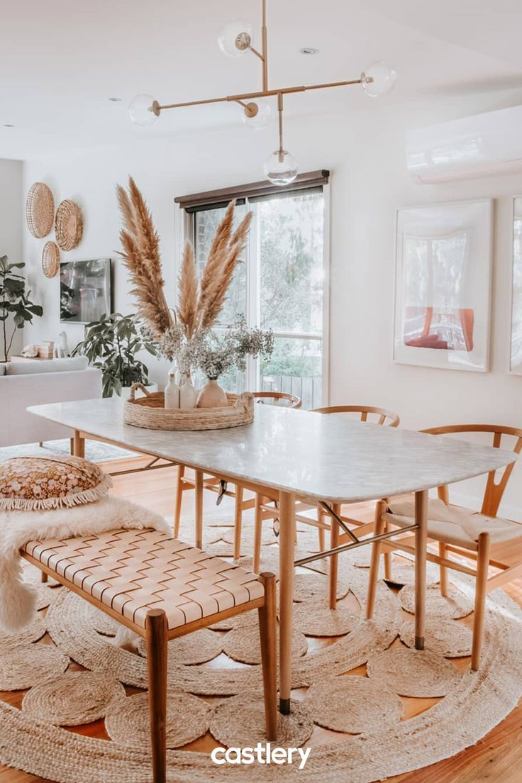 dining set, wooden floor, white wooden chairs, rattan woven seat, wooden bench with leather woven seat