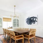 Dining Set, Wooden Table, Wooden Rattan Chairs, White Wall, Wooden Floor, Patterned Rug