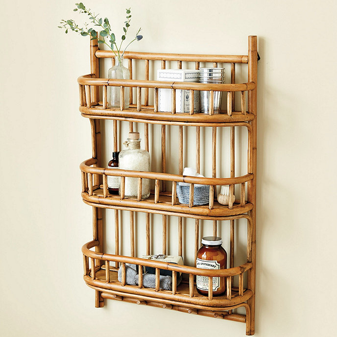 floating rattan shelves with fence