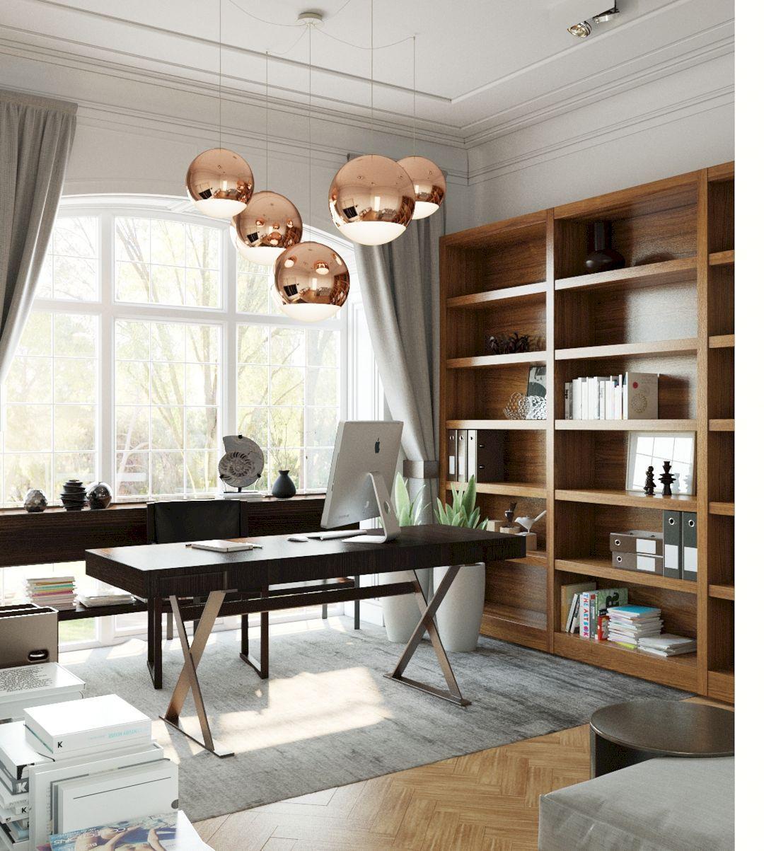 home office, wooden floor, white wall, large glass window, wooden shelves, chopper pendants, black office table, black chair, black cabinet
