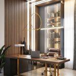 Home Office, Wooden Floor, Wood Grid, Shelves, Wooden Table, Golden Legs, Brown Leather Office Chair, Golden Pendants