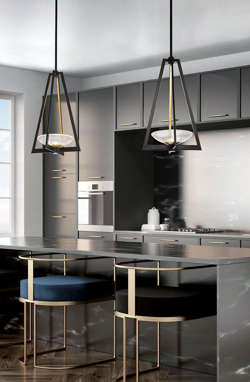 kitchen, black smooth cabinet, black island, modern stool with golden lines, black golden triangle fixture