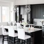Kitchen, Black Wooden Floor, Black Kitchen Cabinet, White Marble Top, White Stools, Crystal Pendant