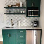 Kitchen, Green Kitchen Cabinet, Patterned White Marble Backsplash, White Top, Green Floating Shelves
