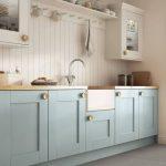 Kitchen, Grey Floor Tiles, Blue Kitchen Cabinet With Wooden Top, White Wooden Plank, White Cabinet