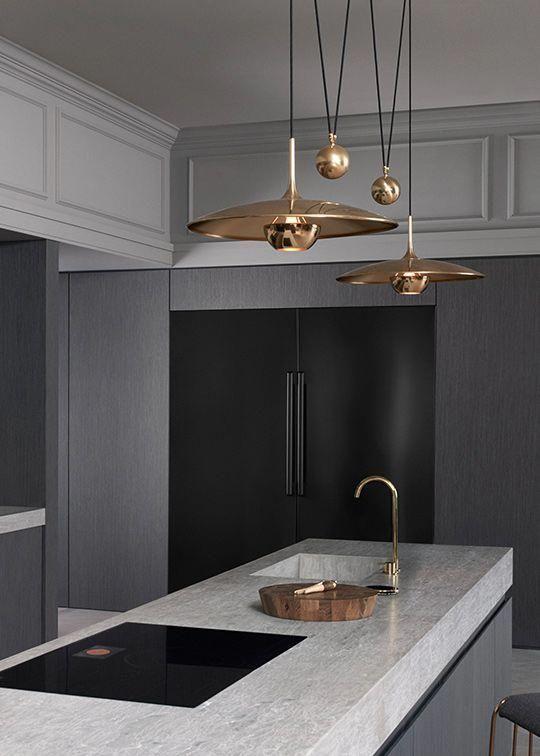 kitchen, grey island, dark grey kitchen, golden pendants