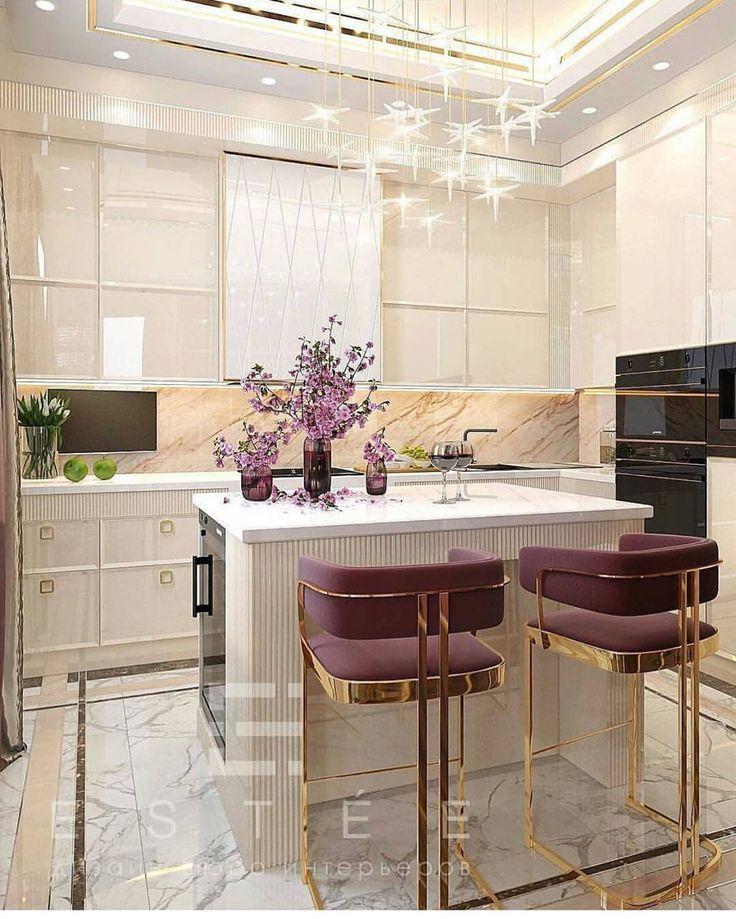 kitchen, white marble floor, white marble cabinet, star pendants