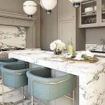 Kitchen, White Marble Island, Grey Kitchen Cabinet, Blue Stools, White Globe Pendants