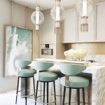Kitchen, White Marble Island, White Kitchen Cabinet, Clear Glass Pendants With Golden Fringe